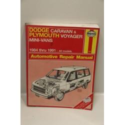 Revue technique pour Dodge Caravan pour Plymouth Voyager de 1984 à 1991 en anglais