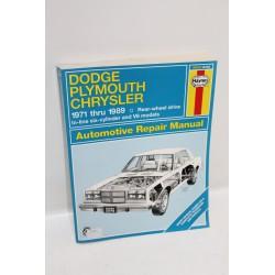 Manuel de réparation Dodge Chrysler Plymouth de 1971 à 1989 en anglais