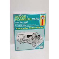 Manuel de réparation pour Dodge et pour Plymouth vans de 1971 à