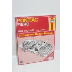 Manuel de réparation pour Pontiac Fiero de 1984 à 1988 en anglais
