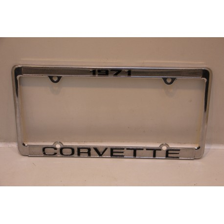 support de plaque d immatriculation m tallique corvette 1971 vintage garage. Black Bedroom Furniture Sets. Home Design Ideas
