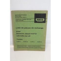 Liste de pièces de rechange moteurs diesel Hatz types e671l e671r e571l e571r