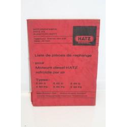 Liste de pièces de rechange moteurs diesel Hatz types e80g e85g e89g