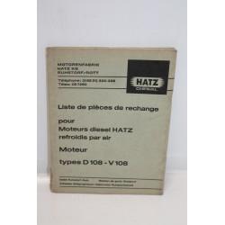 Liste de pièces de rechange moteurs diesel Hatz types d108 –
