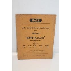 Liste de pièces de rechange moteurs diesel Hatz types es71 es75 es79 es780 es785