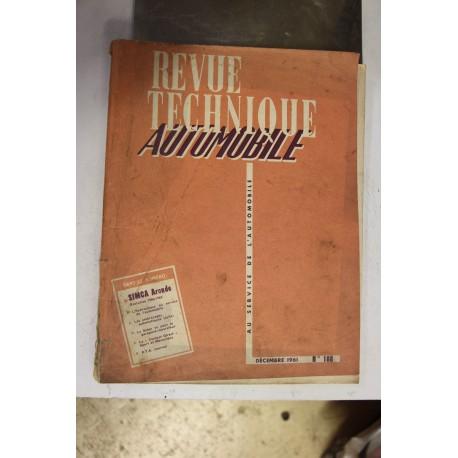 Revues techniques décembre 1961 pour Simca Aronde évolution