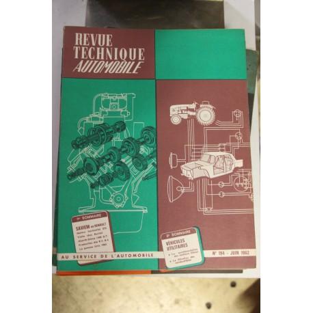 Revues techniques juin 1962 Saviem ex pour Renault moteur horizontal 572