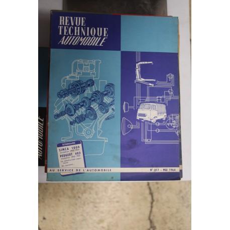 Revues techniques mai 1964 pour Simca 1000 évolution 62-64 et