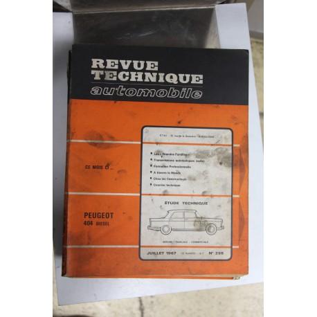 Revues techniques juillet 1967 n°255 pour Peugeot 404 diesel