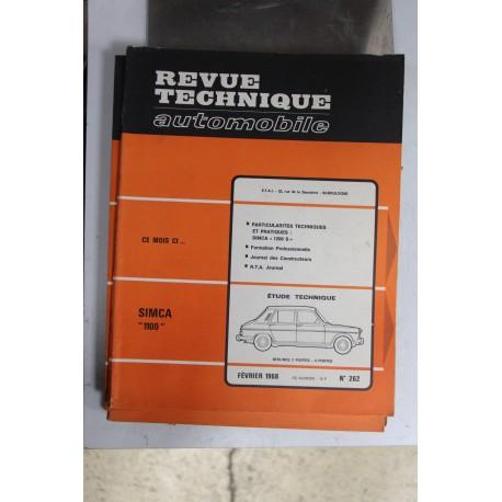 Revues techniques février 1968 n°262 pour Simca 1100