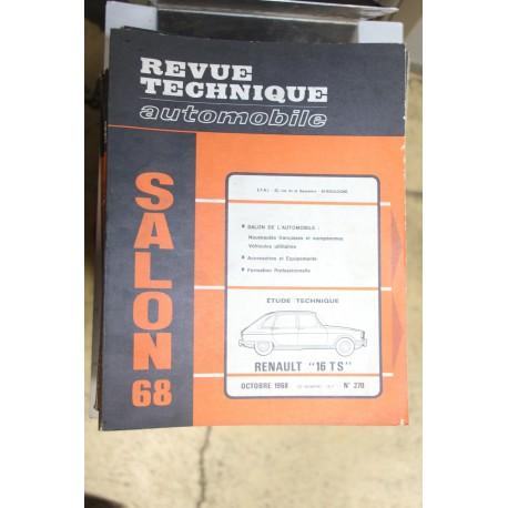 Revues techniques octobre 1968 n°270 pour Renault 16 TS et