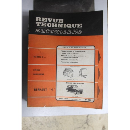 Revues techniques avril 1970 n°288 pour Renault 4