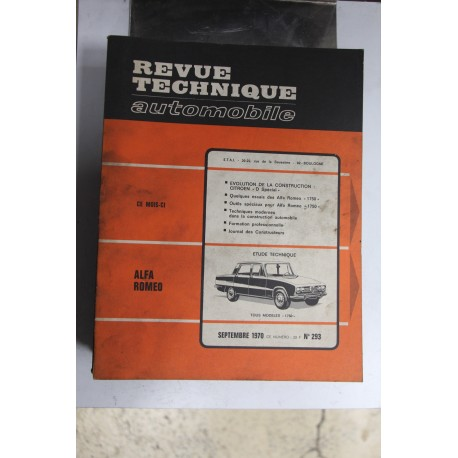 Revues techniques septembre 1970 n°293 pour Alfa Roméo tous models 1750