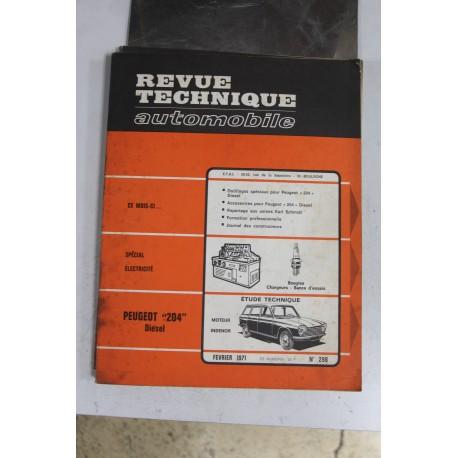 Revues techniques février 1971 n°298 pour Peugeot 204 diesel