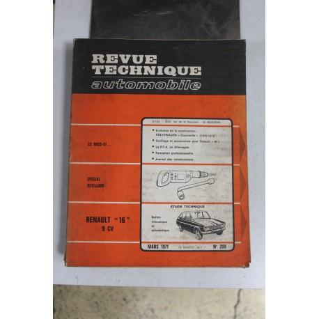 Revues techniques mars 1971 n°299 pour Renault 16 (9cv) boite