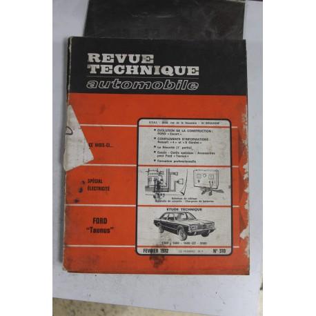 Revues techniques février 1972 n°310 pour Ford Taunus 1300 1600 1600 GT et 2000