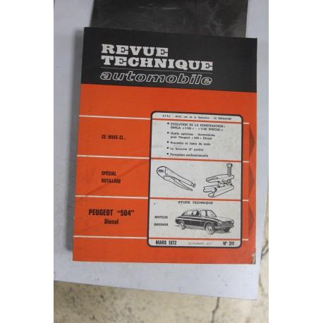 Revues techniques mars 1972 n°311 pour Peugeot 504 diesel