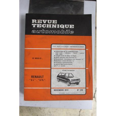 Revues techniques novembre 1972 n°318 pour Renault 5L et 5TL