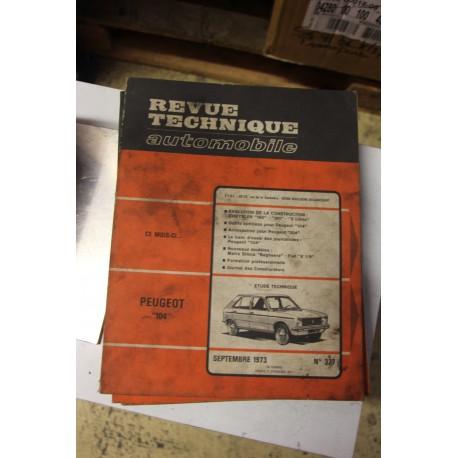 Revues techniques septembre 1973 n°327 pour Peugeot 104