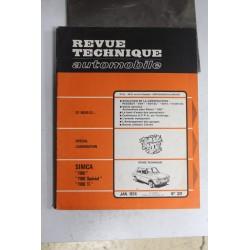 Revues techniques janvier 1974 n°331 pour Simca 1100 1100 Spécial et 1100 TI
