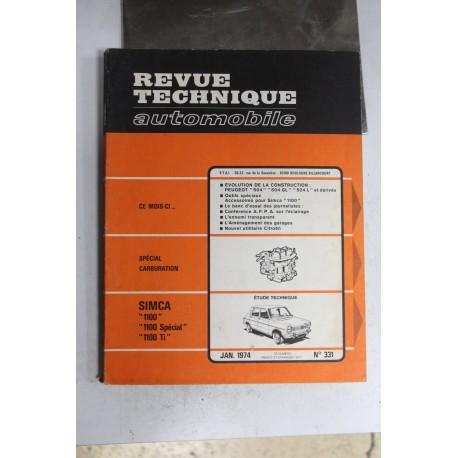 Revues techniques janvier 1974 n°331 pour Simca 1100 1100