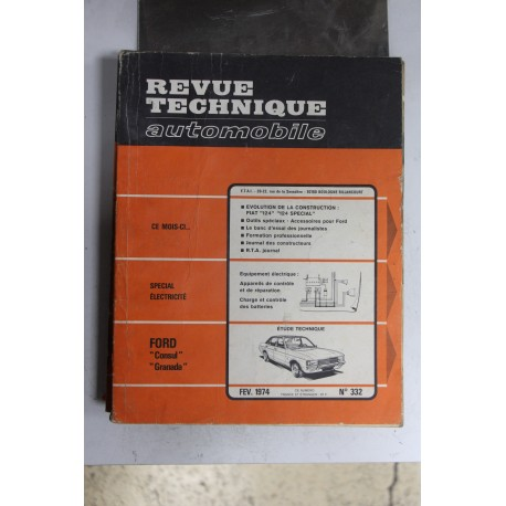 Revues techniques février 1974 n°332 pour Ford Consul et Granada
