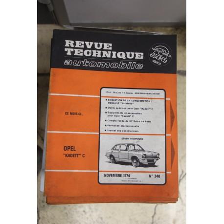 Revues techniques novembre 1974 n°340 pour Opel Kadett C