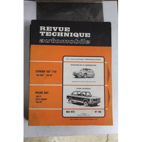 Revues techniques mai 1975 n°345 Polski pour Fiat 125 P 125 P super 125 PX