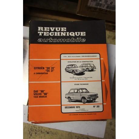 Revues techniques décembre 1975 n°351 Daf 66 et pour Volvo 66 tous modèles
