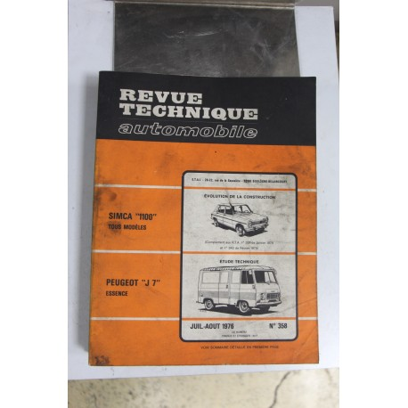 Revues techniques juillet/août 1976 n°358 pour Peugeot J7 essence