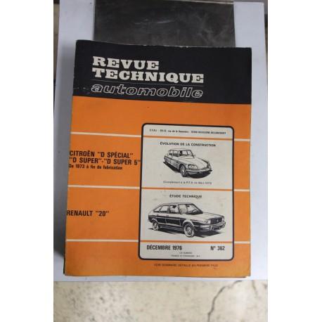 Revues techniques décembre 1976 n°362 pour Renault 20 Vintage
