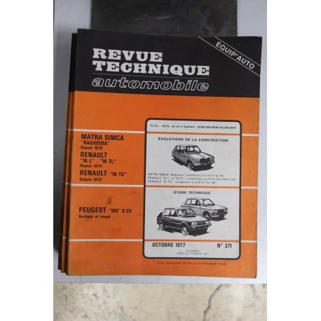 Revues techniques octobre 1977 n°371 pour Peugeot 104 6cv berlines et coupé