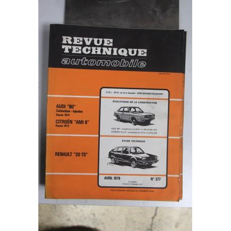 Revues techniques avril 1978 n°377 pour Renault 20 TS