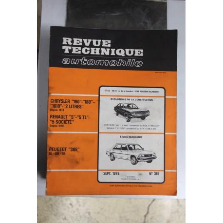 Revues techniques septembre 1978 n°381 pour Peugeot 305 GL , GR et SR