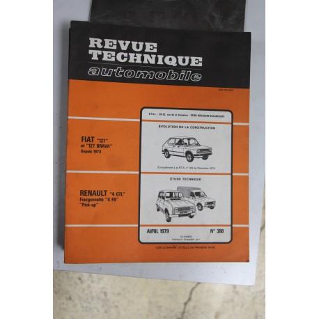 Revues techniques avril 1979 n°388 pour Renault 4 GTL , fourgonnette 4 F6 et pick-up