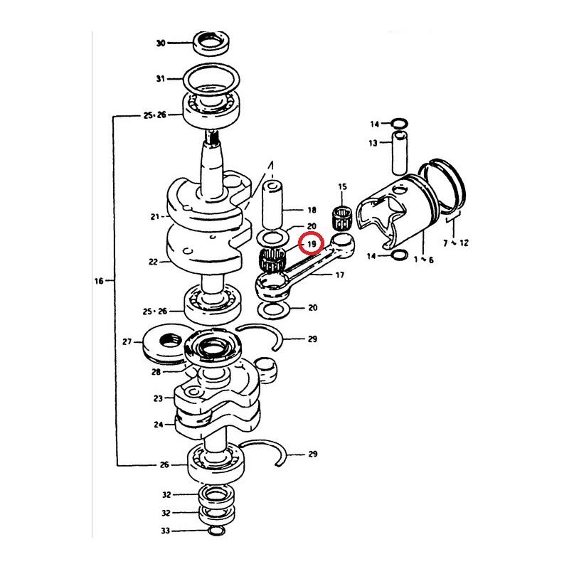 roulement de bielle  cage a aiguille bas de bielle   moteur suzuki dt14 dt28 dt20 dt25 dt400